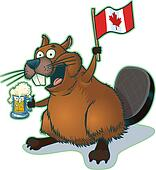 Beaver with Beer and Canadian Flag