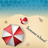 Beach text frame with umbrella