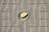 2014 english calendar with stone on sand