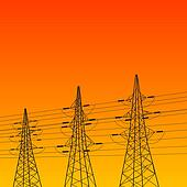 Electric pylon at sunset