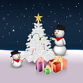 Cute Snowmen with Christmas Tree an