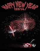 Fire works with Happy new year 2014