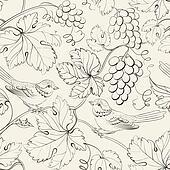 Bird and grape, seamless pattern.