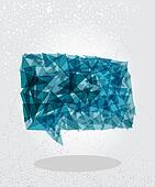 Blue social bubble geometric shape.