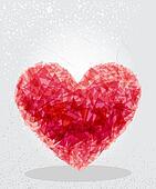 Red heart geometric shape.