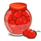 A jar of a strawberry jam