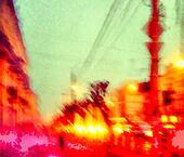 Blurred cityscape with traffic jam at weekday