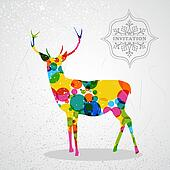 Merry Christmas colorful reindeer shape.