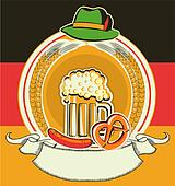 Beer label with German flag and oktoberfest symbols