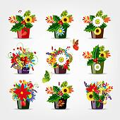 Set of floral pots isolated for your design