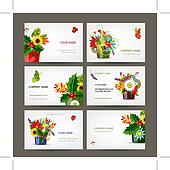 Postcard collection with floral pots for your design