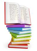 A stack of colorful books with open book on top