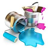 Paint bucket, paint roller and paint brush