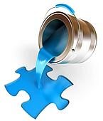 Paint fill a container in the form of a puzzle