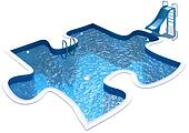 Pool in the form of a puzzle