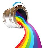 Paint is poured from a can. Rainbow