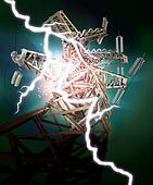 High voltage post. Lightning strike