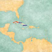 Map of Caribbean - Cuba (Vintage Series)