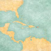 Map of Caribbean - Puerto Rico (Vintage Series)