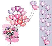 Clown with Heart Balloons Saying Happy Anniversary - Girl Colors
