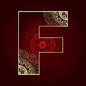 Vintage alphabet with floral swirls, letter F