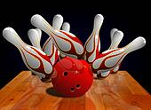 Bowling strike on pin