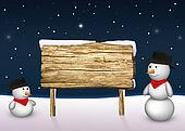 Snowmen with a blank wooden sign