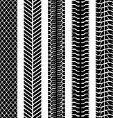 Black and white seamless truck tyre tracks template.