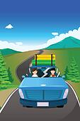 Couple riding a car going on a road trip