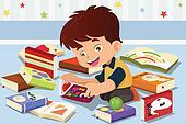 Boy reading a book