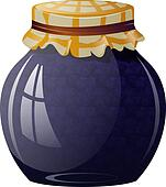 Glass jar with blueberry jam