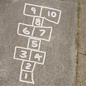 Hopscotch Game in Chalk on Sidewalk
