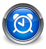 Alarm icon glossy blue button