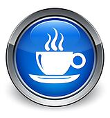 Coffee cup icon glossy blue button