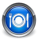 Plate with fork and knife icon glossy blue button