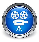 Video camera icon glossy blue button