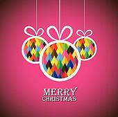 Abstract christmas bauble balls on pink background- vector graph