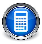 Calculator icon glossy blue button