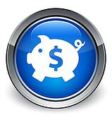 Piggy bank (dollar sign) icon glossy blue button