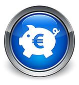 Piggy bank (euro sign) icon glossy blue button