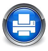 Printer icon glossy blue button