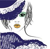 girl with in a lace hat, fashion illustration
