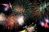 Fireworks party with champagne