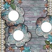 Old wooden background with a frames, flowers, pearls and lace