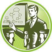 Businessman Presenting Boardroom Woodcut
