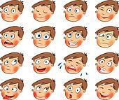Emotions. Cartoon facial set