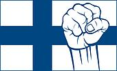 Finland fist (flag of Finland)