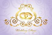 wedding invitation with gold rings