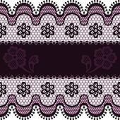 Old lace border, abstract ornament. Vector texture.
