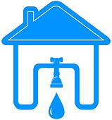 symbol with house, tap, spigot and